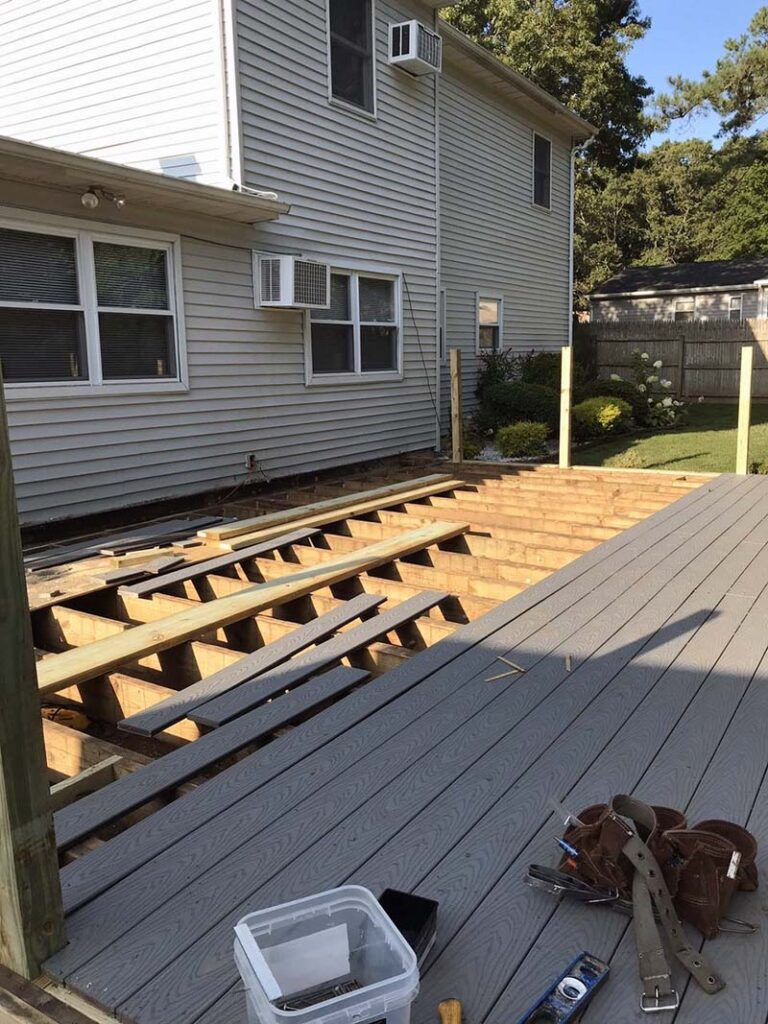 Suffolk County, Long Island, NY backyard composite deck and repairs