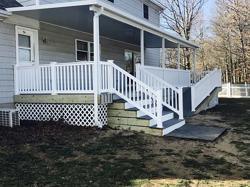 Suffolk County, Long Island, NY front porch composite deck and repairs